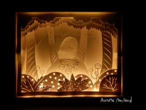 Little Ghost in the forest- Papercutting, shadow box and lights experiment.