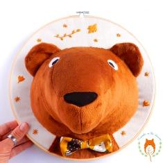 Mr Bear 3D textile portrait