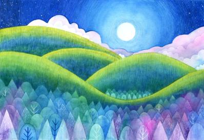 Moonlint Hills. Watercolour and coloured pencil.
