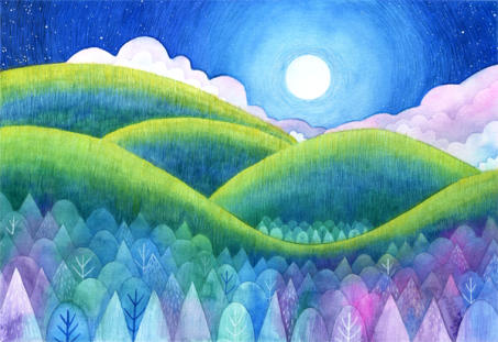 Moonlint Hills. Watercolour and coloured pencil.