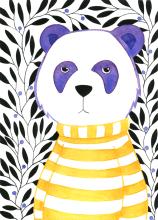 Grumpy Panda. Watercolour and ink.