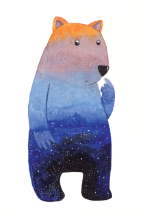 Wombat at Dusk. Personal project. Part of my Fantastic Creatures series. Watercolour and ink.